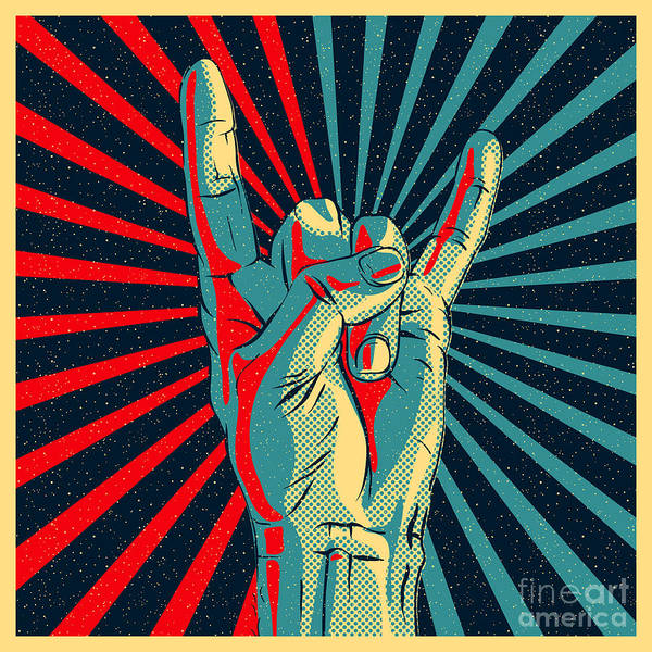 Wall Art - Digital Art - Hand In Rock N Roll Sign, Vector by Premiumvector