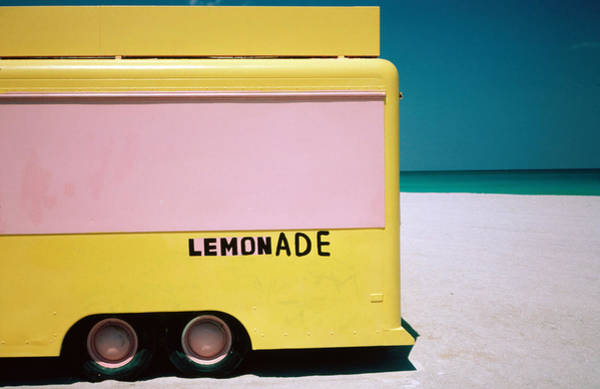 Horizontal Abstract Photograph - Hand Painted Lemonade Truck On Beach by Jeffrey Becom