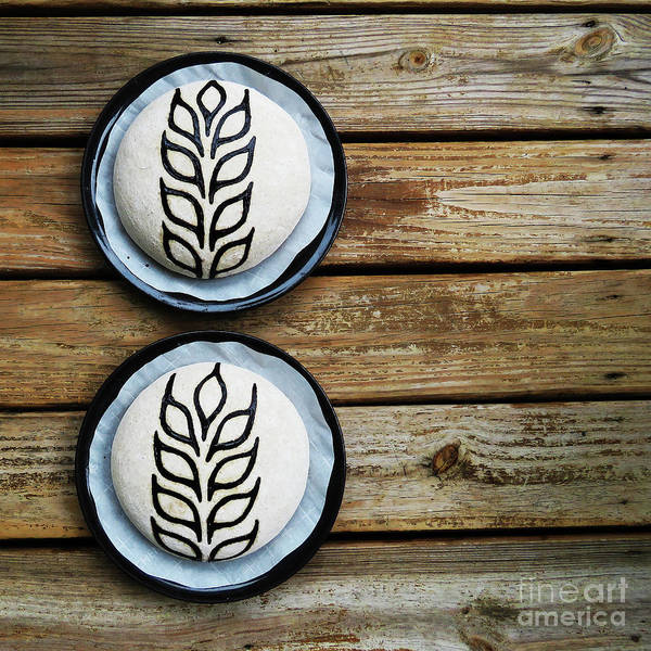Photograph - Hand Painted Wheat Design Sourdough Boules - Before Bake by Amy E Fraser