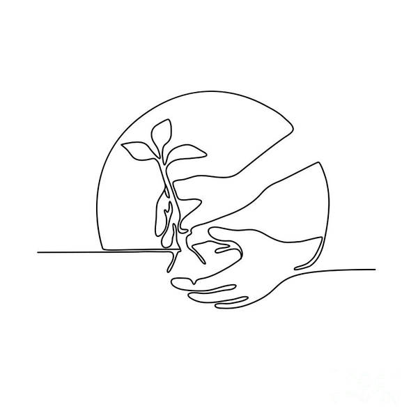 Wall Art - Digital Art - Hand Planting Tree Seedling Continuous Line by Aloysius Patrimonio