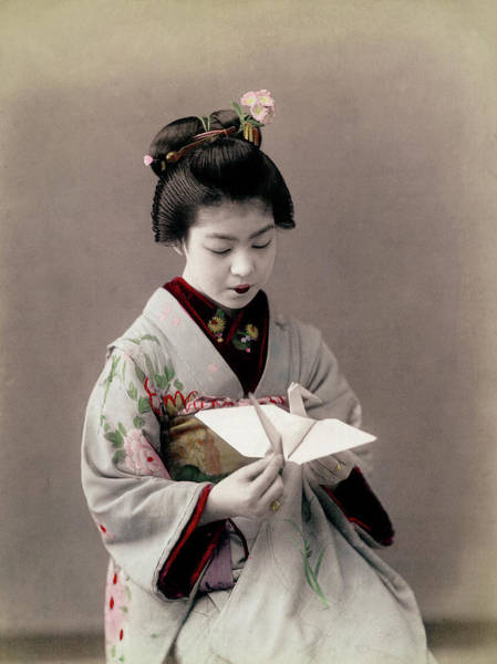 Archival Paper Photograph - Hand-tinted Photograph Of Japanese Danci by Time Life Pictures