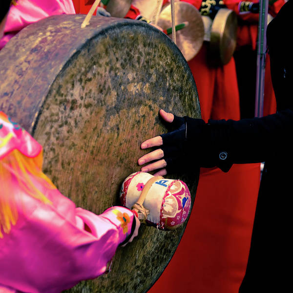 Chinese Clothing Wall Art - Photograph - Hand Touching Drum by © Philippe Lejeanvre