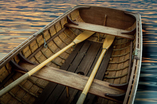 Oar Photograph - Handcrafted Wooden Rowboat With Oars by Gary S Chapman