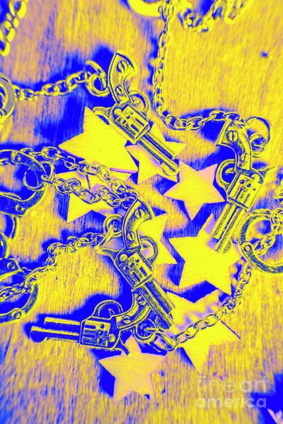 Frontier Photograph - Handguns, Chains And Handcuffs by Jorgo Photography - Wall Art Gallery