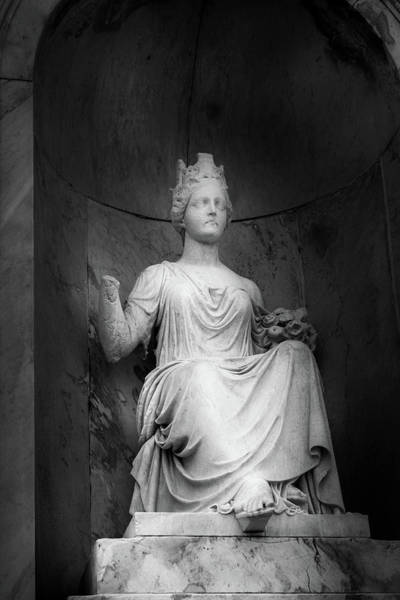 Wall Art - Photograph - Handless Statue On Tomb In Black And White by Greg and Chrystal Mimbs
