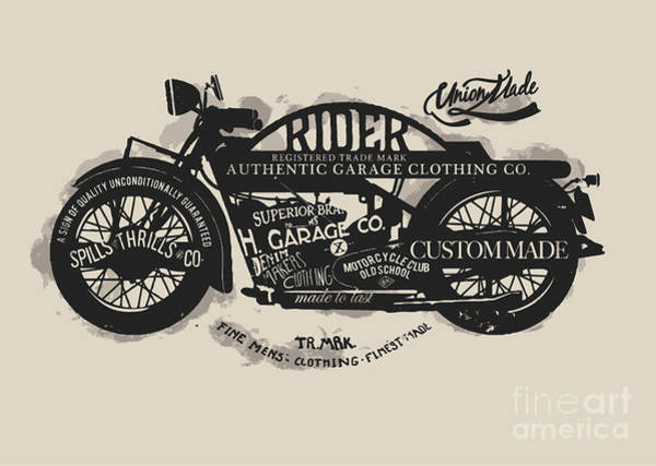 Biker Wall Art - Digital Art - Handmade Font Motorcycle Race With by Yusuf Doganay