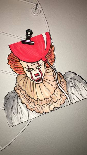 Wall Art - Drawing - Handmade Pennywise Drawing by Angel Hennessee