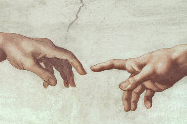 The Creation Of Adam Wall Art - Painting - Hands Of God And Adam By Michelangelo by Michelangelo Buonarroti