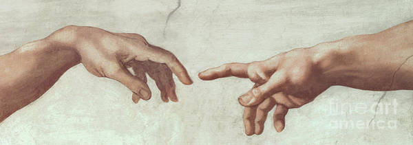 The Creation Of Adam Wall Art - Painting - Hands Of God And Adam, Detail From The Creation Of Adam, From The Sistine Ceiling, 1511 by Michelangelo