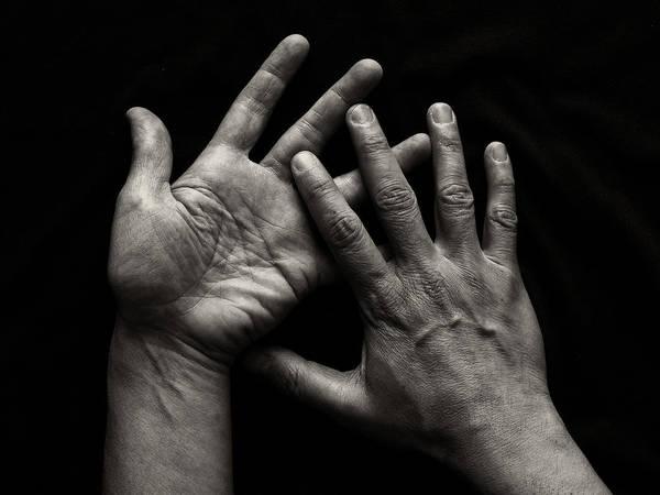 Gesturing Photograph - Hands On Black Background by Luigi Masella
