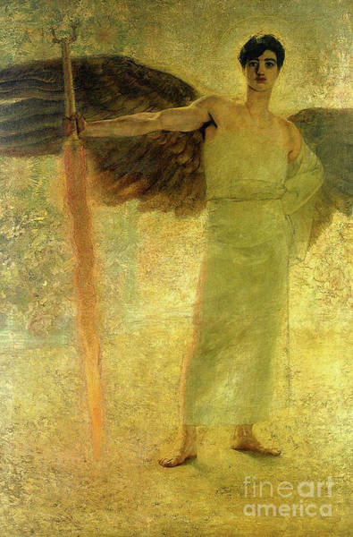 Flaming Sword Painting - Handsome Golden Angel Antique Christian Religious Art by Tina Lavoie