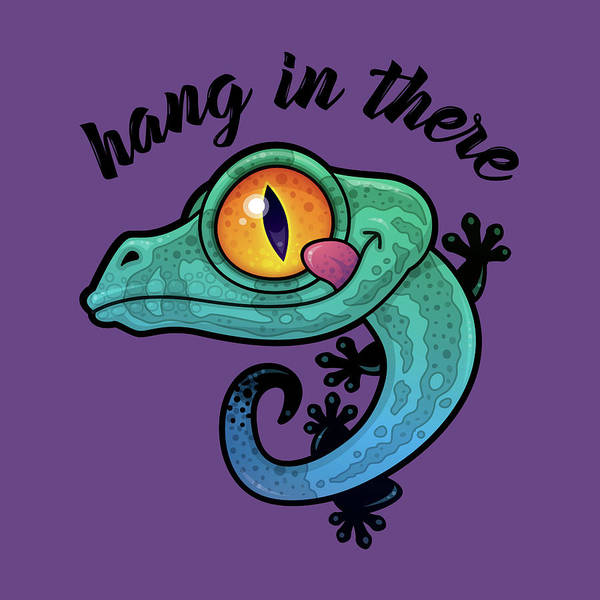Lizard Digital Art - Hang In There Colorful Gecko by John Schwegel