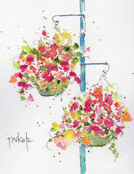 Painting - Hanging Flower Baskets by Pat Katz