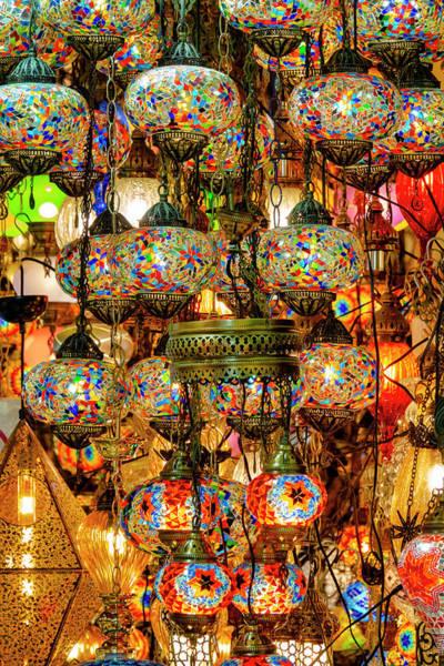 Photograph - Hanging Mosaic Lamp In The Grand Bazaar by Fabrizio Troiani