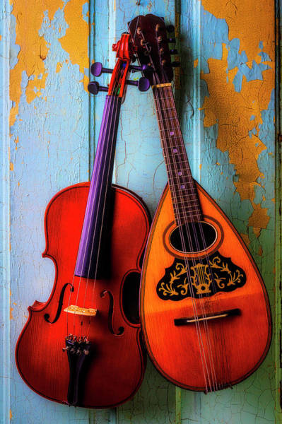 Wall Art - Photograph - Hanging Violin And Mandolin by Garry Gay
