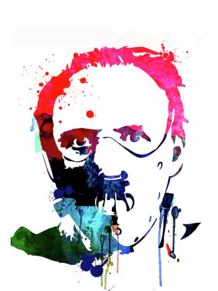 The Mixed Media - Hannibal Lecter Watercolor by Naxart Studio