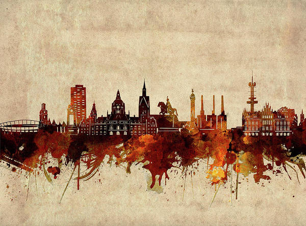 Wall Art - Digital Art - Hannover Skyline Sepia by Bekim M