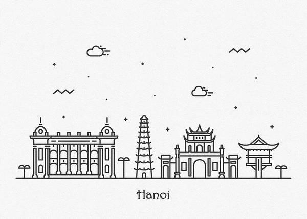 Landmark Center Drawing - Hanoi Cityscape Travel Poster by Inspirowl Design