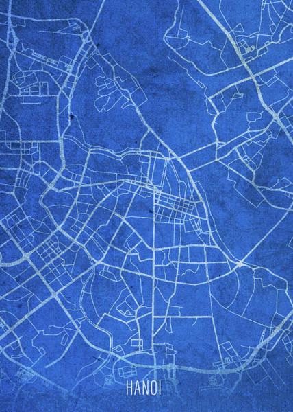 Wall Art - Mixed Media - Hanoi Vietnam City Street Map Blueprints by Design Turnpike