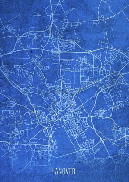 Wall Art - Mixed Media - Hanover Germany City Street Map Blueprints by Design Turnpike