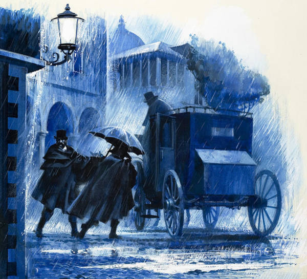 Wall Art - Painting - Hansom Cab In The Rain by Unknown