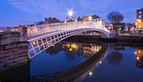 Photograph - Ha'penny Bridge At Blue Hour by Barry O Carroll