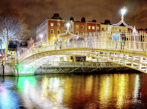 Wall Art - Photograph - Ha'penny Bridge Night Glow In Dublin by John Rizzuto
