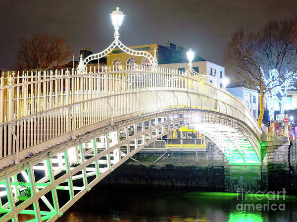 Wall Art - Photograph - Ha'penny Bridge Night Lights In Dublin by John Rizzuto