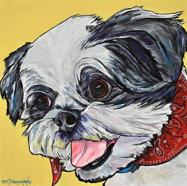 Painting - Happy As A Shih Tzu by Patti Schermerhorn