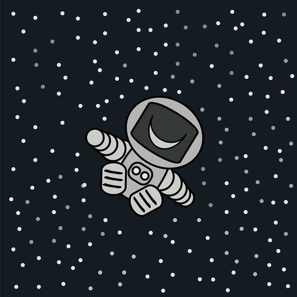 Art Print featuring the digital art Happy Astronaut by Borja Robles