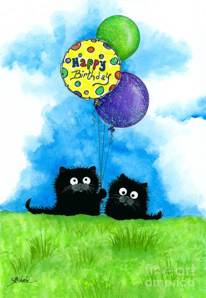 Black Cat Painting - Happy Birthday Cats by AmyLyn Bihrle