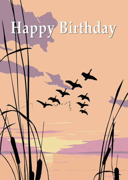 Wall Art - Painting - Happy Birthday Greeting Card - Ducks Flying At Sunset by Walt Curlee