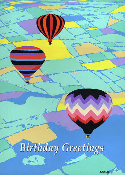 Wall Art - Painting - Happy Birthday Greeting Card - Hot Air Balloons by Walt Curlee