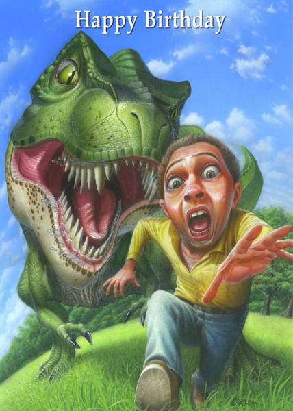 Wall Art - Painting - Happy Birthday Greeting Card - Jurassic Park Tyrannosaurus Chasing A Man  by Walt Curlee