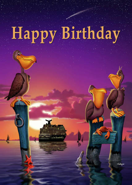Wall Art - Digital Art - Happy Birthday Greeting Card - Pelicans Sunset Cartoon by Walt Curlee