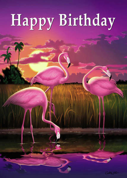 Wall Art - Digital Art - Happy Birthday Greeting Card - Pink Flamingos Sunset by Walt Curlee