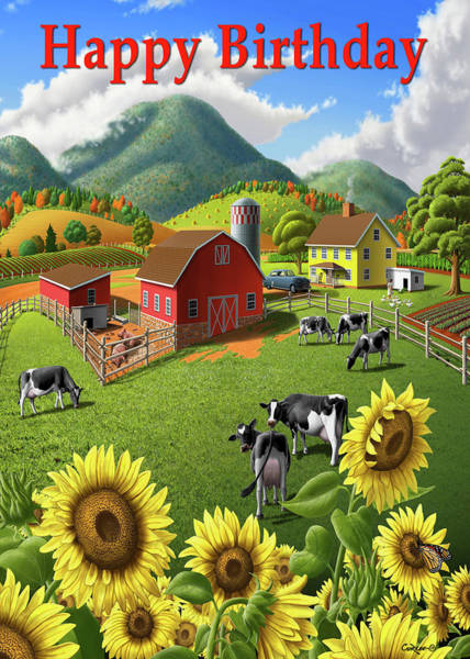Wall Art - Painting - Happy Birthday Greeting Card - Sunflowers Cows Farm Animals Landscape by Walt Curlee
