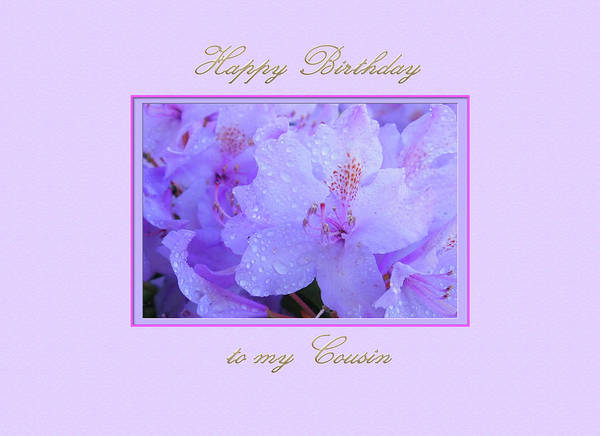 Digital Art - Happy Birthday To My Cousin With Purple Hydrangeas by Jacqueline Sleter