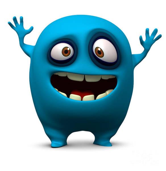 Wall Art - Digital Art - Happy Blue Monster by Albert Ziganshin