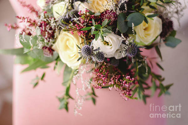 Photograph - Happy Bridal Bouquet With Pink And White Tones For Wedding Day by Joaquin Corbalan