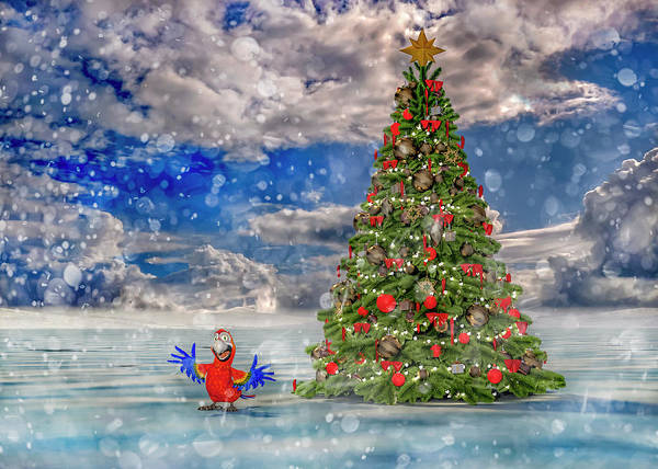 Wall Art - Digital Art - Happy Christmas Parrot by Betsy Knapp