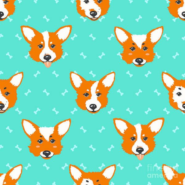 Friendly Wall Art - Digital Art - Happy Dog Welsh Corgi Orange And by Guu