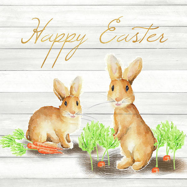 Wall Art - Mixed Media - Happy Easter Bunnies by Andi Metz