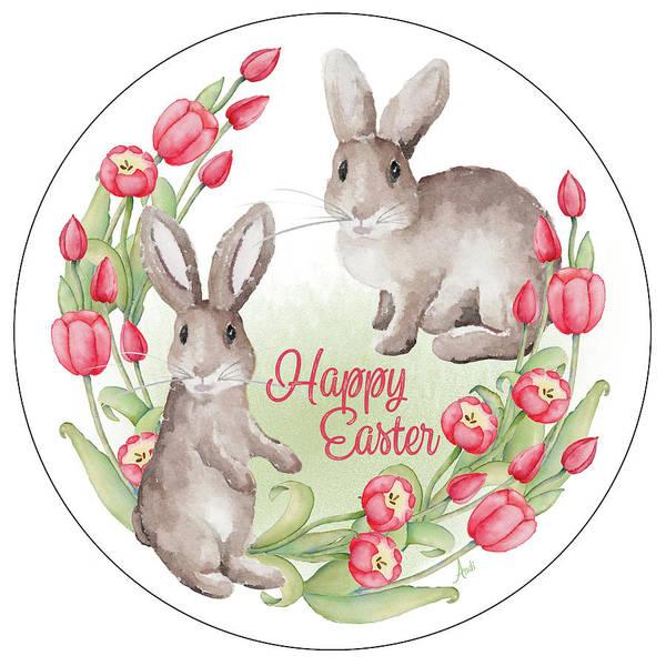 Wall Art - Mixed Media - Happy Easter Bunnies (circle) by Andi Metz