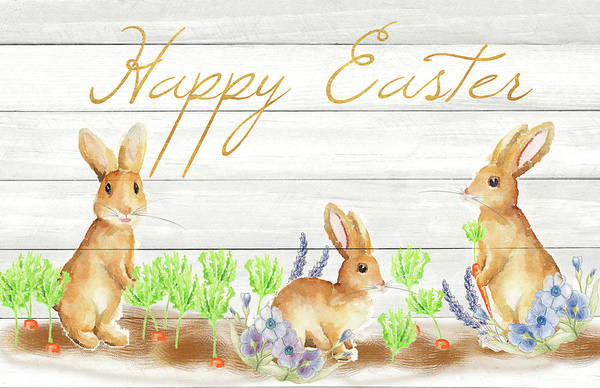 Wall Art - Mixed Media - Happy Easter Bunnies (rectangle) by Andi Metz