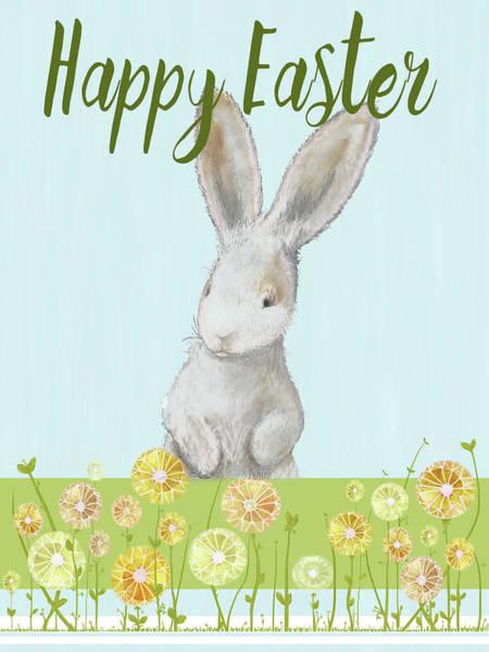 Wall Art - Mixed Media - Happy Easter Bunny I by Diannart