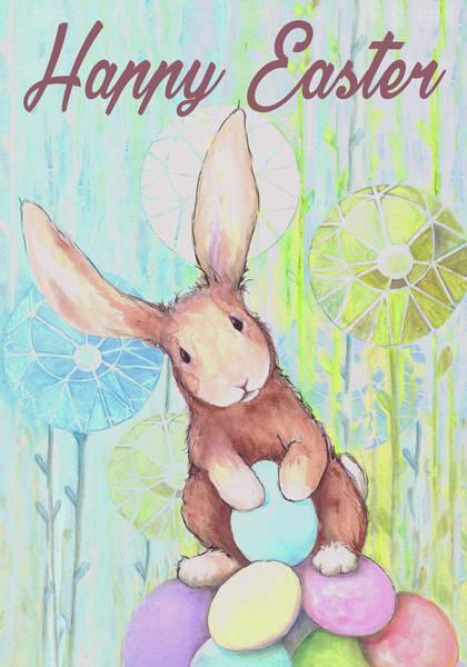 Wall Art - Mixed Media - Happy Easter Bunny IIi by Diannart