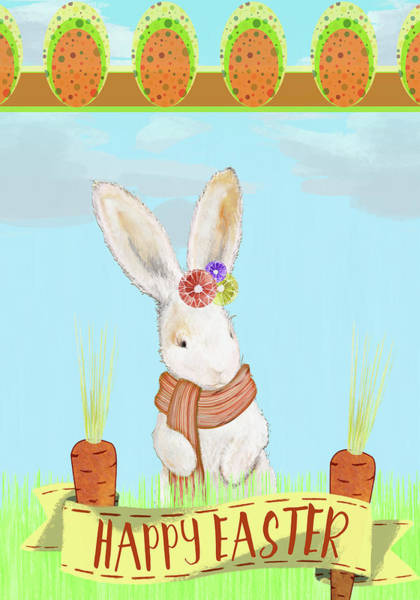 Wall Art - Mixed Media - Happy Easter Bunny Iv by Diannart