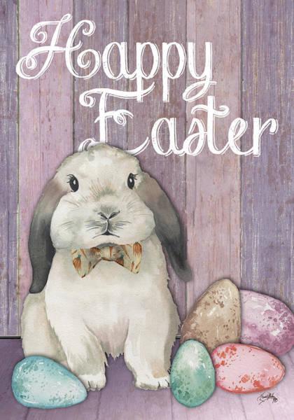 Wall Art - Digital Art - Happy Easter Bunny On Wood by Elizabeth Medley