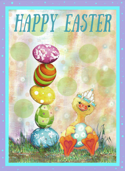 Wall Art - Mixed Media - Happy Easter Eggs by Diannart
